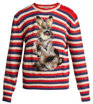 Gucci - Striped Wool And Mohair Blend Rabbit Sweater - Womens - Blue Multi