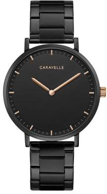 Rosegold CARAVELLE Designed by Bulova Caravelle Black IP Stainless Steel Watch, Rose-Gold Markers - 45A145