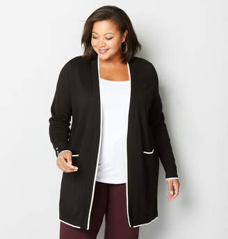 Avenue White Trimmed Black Cardigan