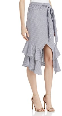 AQUA Striped Tie Waist Skirt $128 thestylecure.com