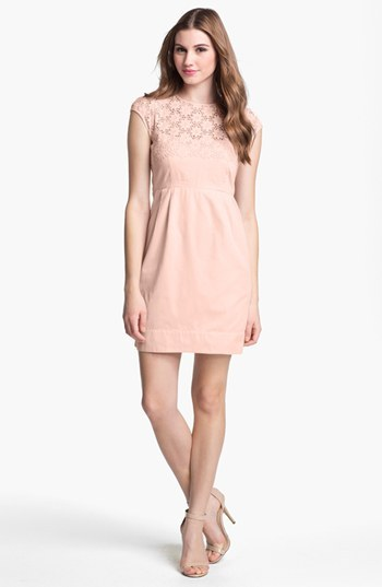 French Connection 'Creamy' Embroidered Yoke Sheath Dress