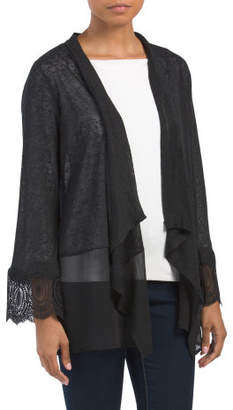 Crinkle Hem Cardigan With Lace Trim