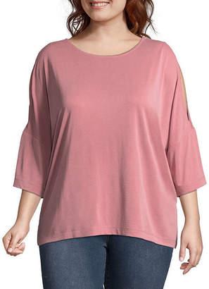 Boutique + + Sandwashed 3/4 Split Sleeve Blouse - Plus