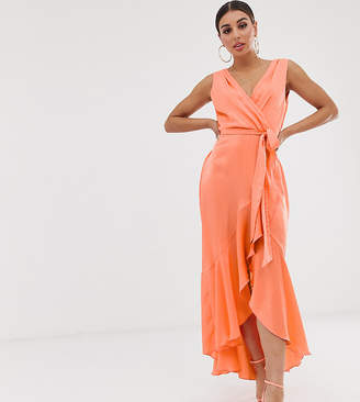 Flounce London wrap front midaxi dress in tangerine