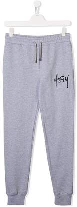 MSGM Kids TEEN graffiti logo track pants