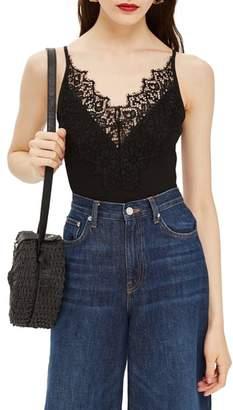 Topshop Strappy Lace Trim Bodysuit