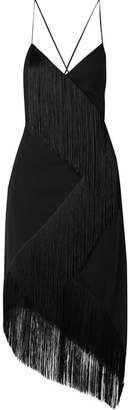 Asymmetric Fringed Wool-crepe Wrap-effect Midi Dress - Black