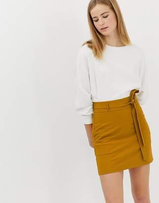 Asos Design DESIGN tailored mini skirt with obi tie