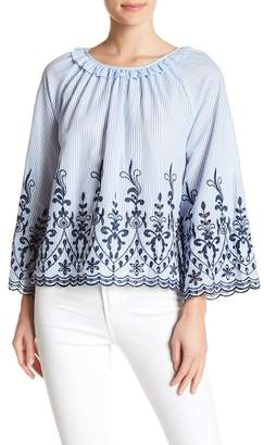 Very J Long Sleeve Stripe Embroidered Blouse