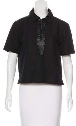Fendi Leather-Accented Short Sleeve Top