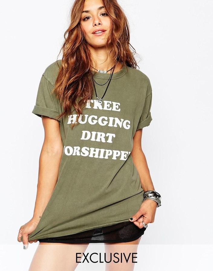 Milk It Vintage Oversized Boyfriend T-Shirt With Tree Hugger Festival Print