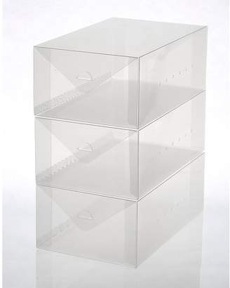 Rebrilliant Men's Size Plastic Foldable 3 Pair Shoe Storage Box Set
