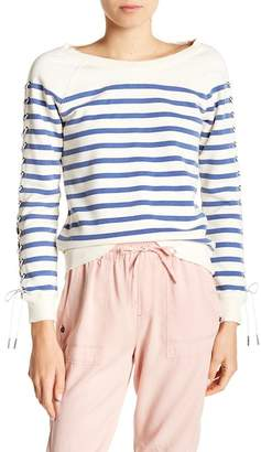 Pam & Gela Lace-Up Sleeve Striped Sweatshirt