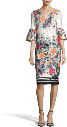 Label By 5twelve 3/4- Bell-Sleeve Floral-Print Sheath Dress