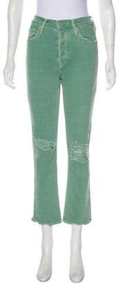 Mother Distressed High-Rise Straight-Leg Jeans w/ Tags