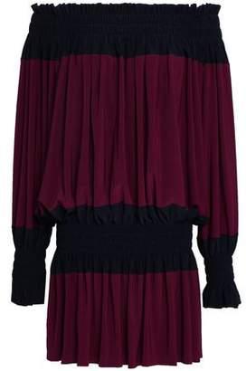 Norma Kamali Off-The-Shoulder Shirred Stretch-Jersey Mini Dress