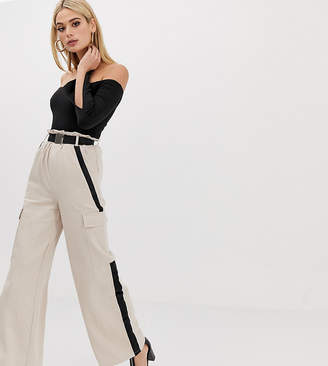 Missguided Tall wide leg pants with buckle detail in sand