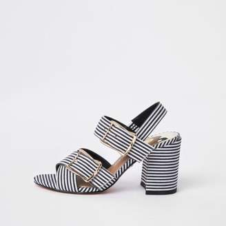 River Island Womens Black stripe two part block heel sandals