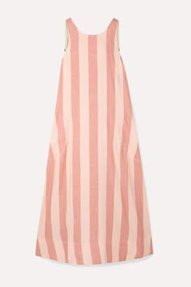 Lee Mathews - Sufi Striped Linen And Cotton-blend Voile Midi Dress - Blush