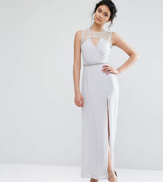 Elise Ryan Sweetheart Lace Maxi Dress With Embellished Waist