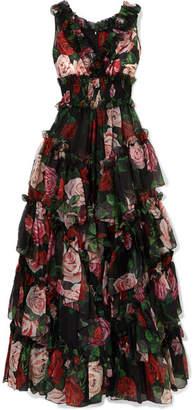 Dolce & Gabbana Ruffled Tiered Floral-print Silk-chiffon Gown - Black