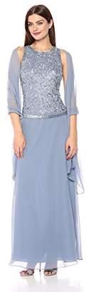 J Kara Women's Petite Long Sleeveless Dress with Scarf
