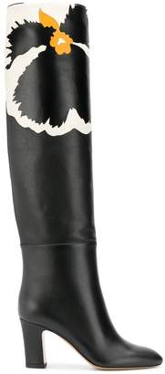 Valentino printed knee high boots