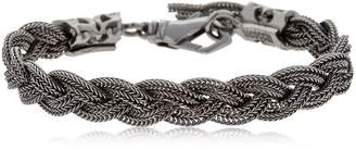 Emanuele Bicocchi Black Braided Silver Chain Bracelet