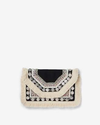 Express Neutral Coin Fringe Clutch