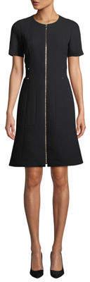 Lafayette 148 New York Sonya Short-Sleeve Zip-Front Wool Crepe Dress