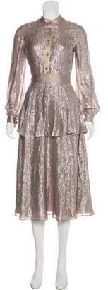 Tory Burch Metallic Midi Dress