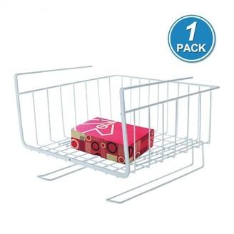 Pk Power Kitchen Storage Bin under Shelf Wire Rack Cabinet Basket Organizer Holder Stand-White