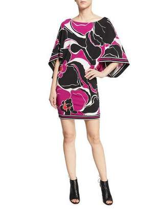 Trina Turk Casablanca Boat-Neck Oversized-Sleeve Orchid-Print Jersey Sheath Dress