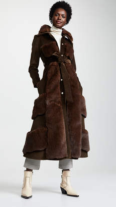 Awake Faux Fur And Corduroy Belted Coat