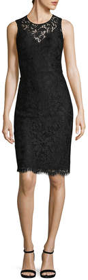 Dolce & Gabbana Crew Neck Embroidery Lace Dress