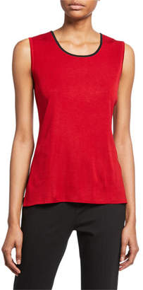Misook Petite Solid Tank with Trim
