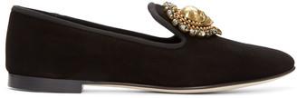 Giuseppe Zanotti Black Suede Skull Heart Loafers $895 thestylecure.com
