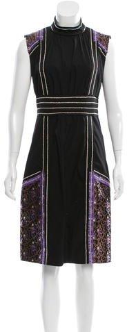 pradaPrada Sheath Floral-Accented Dress