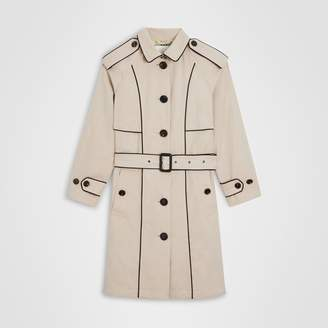 Burberry Piping Detail Tropical Gabardine Trench Coat , Size: 10Y, Beige