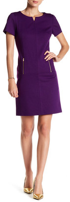 Tahari Split Neck Shift Dress $128 thestylecure.com