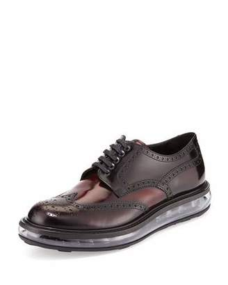 Prada Levitate Leather Wing-Tip Derby Shoe, Dark Red $850 thestylecure.com