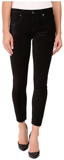 7 For All Mankind 7 For All Mankind The Ankle Skinny w/ Contour Waist Band in Black Velvet