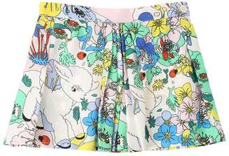 Printed Silk Satin Mini Skirt