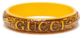 Gucci Logo And Dragon Engraved Bangle - Mens - Yellow