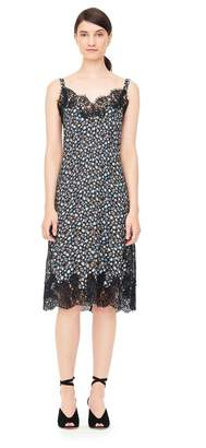 Rebecca Taylor Zelma Floral Silk Slip Dress With Lace