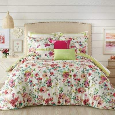 Watercolor Garden Twin/Twin XL Comforter Set in Pink
