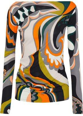 Emilio Pucci Wrap-Effect Printed Jersey Top