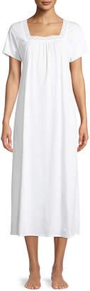 Hanro Hazel Lace-Trim Long Short-Sleeve Nightgown
