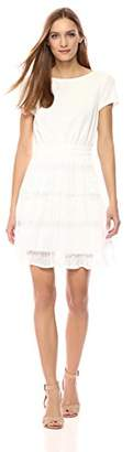 Wild Meadow Women's Short Sleeve Two-fer Dress with Pleated Skirt XS