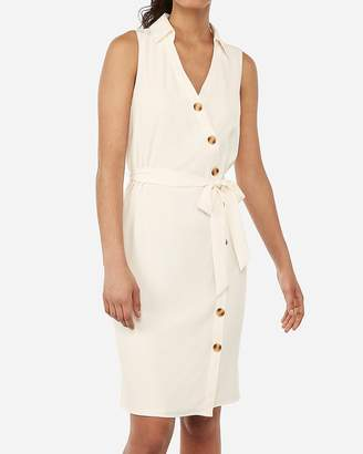 Express Asymmetrical Button Front Sash Tie Midi Shirt Dress